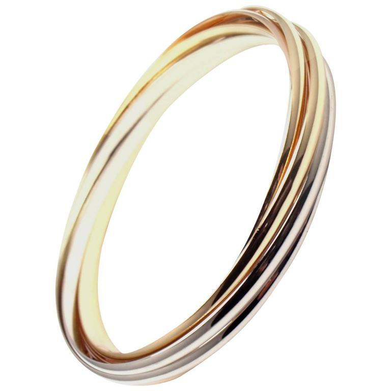Cartier Trinity Rolling 7 Bangles Tri Color Gold Bracelet For