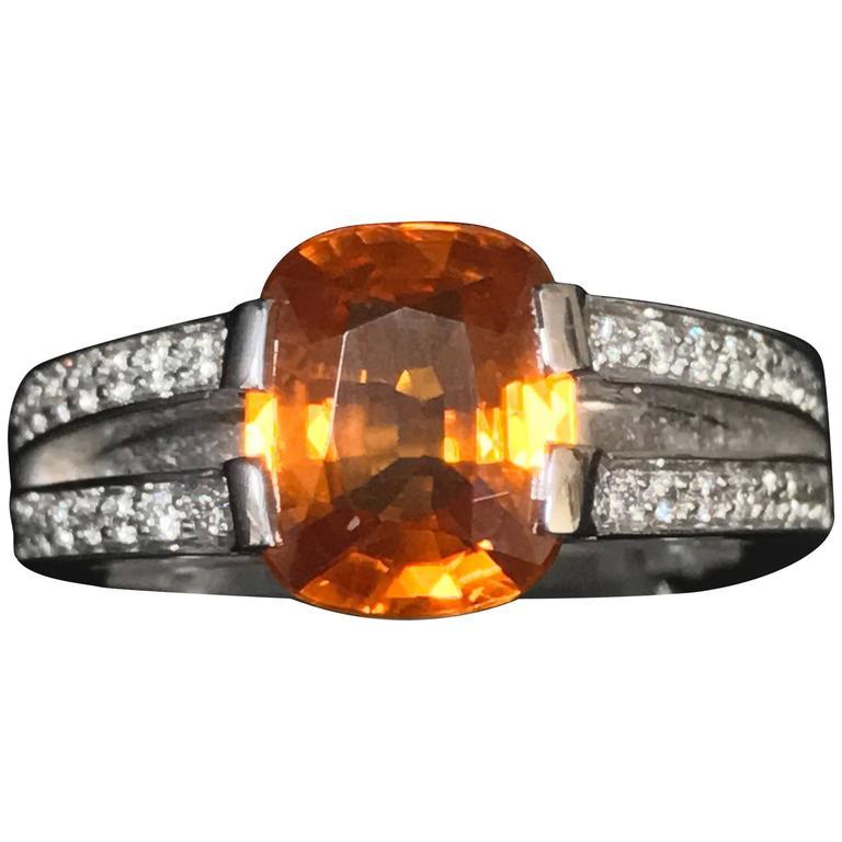 Orange Sapphire Diamonds and White Gold Ring 2