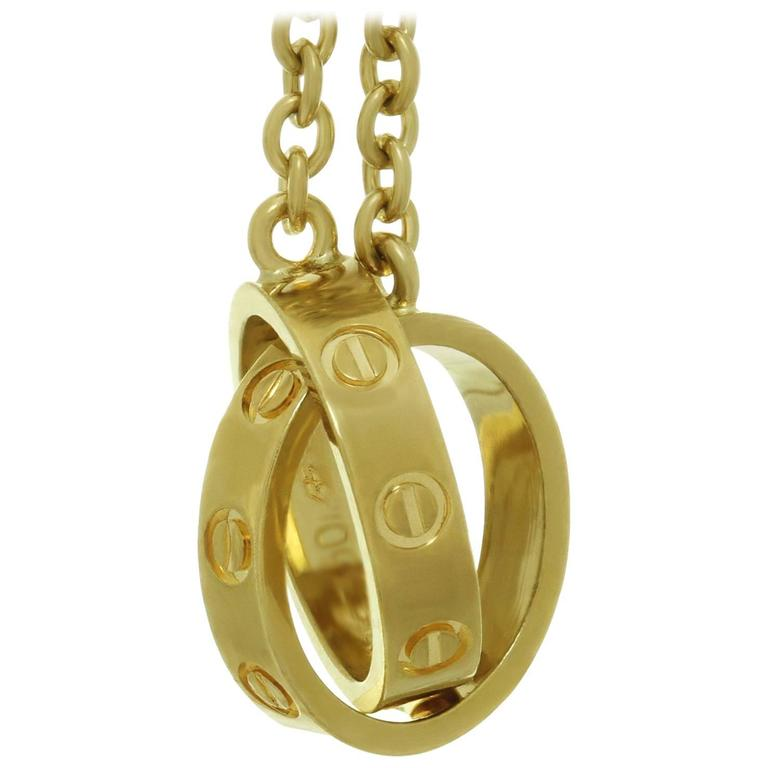 Cartier love yellow gold double circle pendant necklace for sale at cartier love yellow gold double circle pendant necklace for sale aloadofball Choice Image
