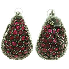 1950s Ruby Gold Earrings