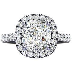 Ferrucci GIA Certified 3.03 Carat E Cushion Diamond Halo Ring in Platinum