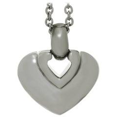 Bulgari White Gold Heart Pendant Necklace nn