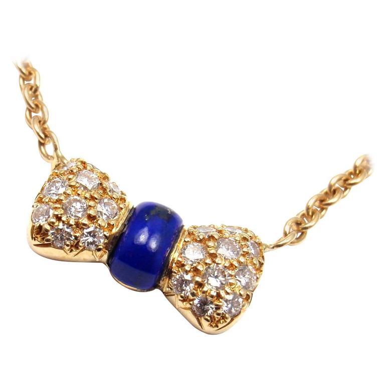 Van Cleef & Arpels Diamond Lapis Lazuli Bow Yellow Gold Pendant Necklace