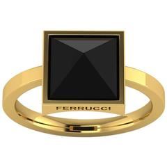 Ferrucci Black Onyx Pyramid 18k Yellow Gold Ring
