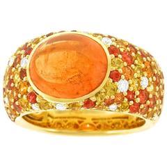 Spessartite Garnet Sapphire Diamond Gold Ring