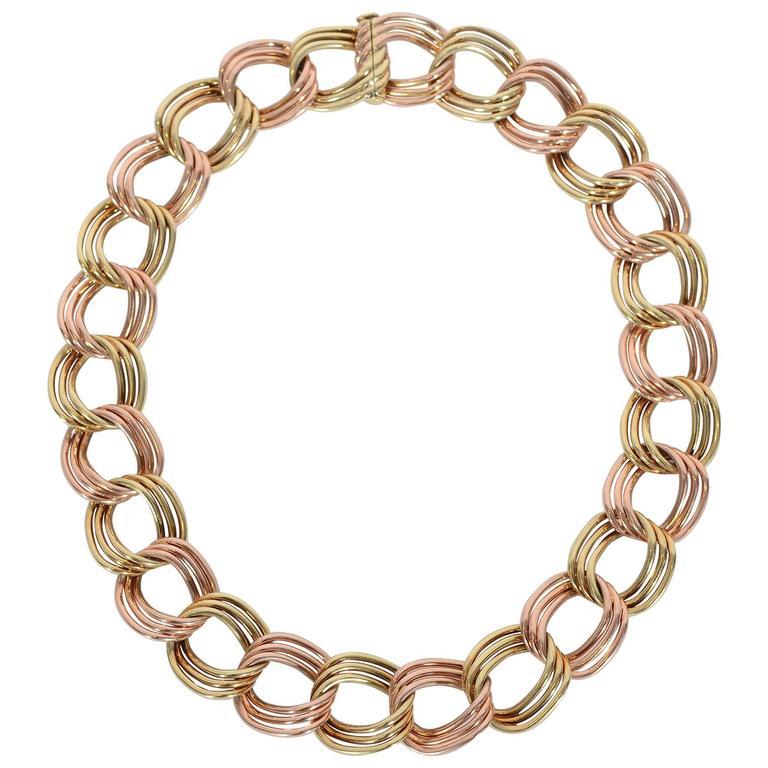Tiffany & Co. Retro Two Color Gold Necklace 1