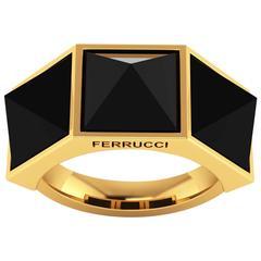 Ferrucci Black Onyx Three Pyramid Yellow Gold Ring