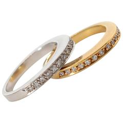 Victor M Pair of Gold Band Diamond Rings