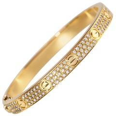 Cartier Diamond Yellow Gold Love Bangle Bracelet