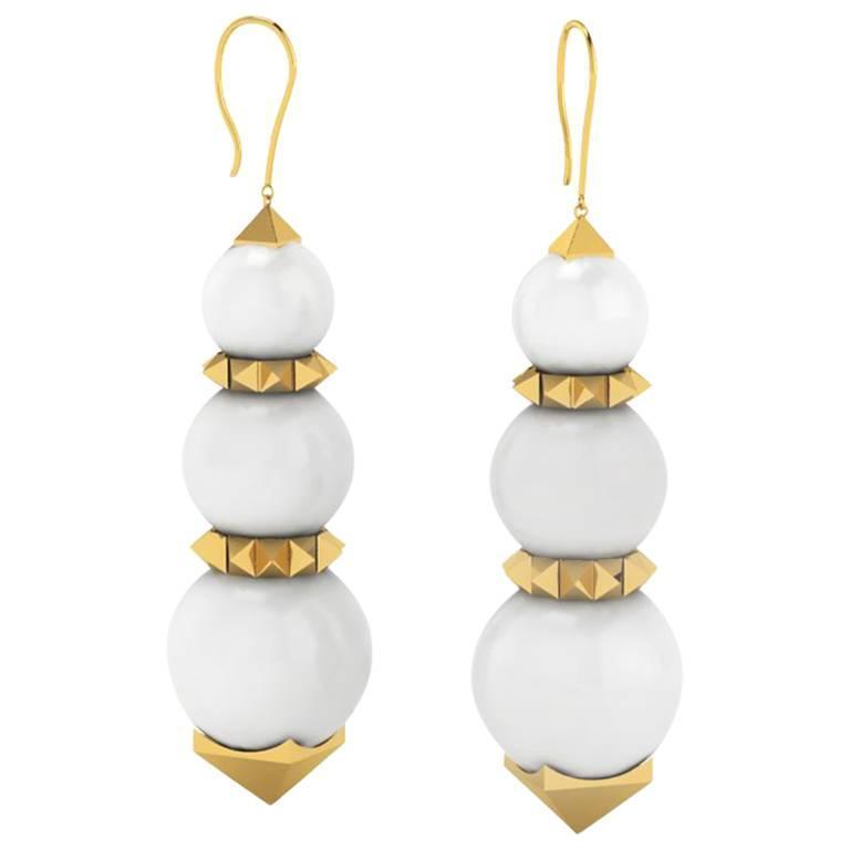 Ferrucci White Agate Pyramid Yellow Gold Earrings