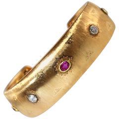 1940s Buccellati Ruby Diamond Gold Cuff Bracelet