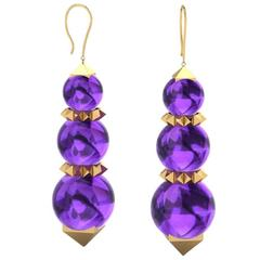 Ferrucci Amethyst Bead Pyramid Yellow Gold Earrings