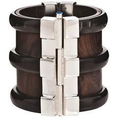 Fouche Bespoke Horn Sapphire Emerald Ruby Wood Silver Cuff Bracelet