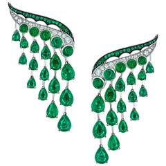 White Gold, White Diamonds and Gemfields Emeralds Dangle Earrings