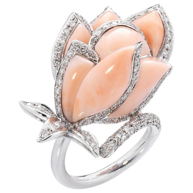 Coral White Diamond White Gold Handmade Italian Petal Cocktail Ring