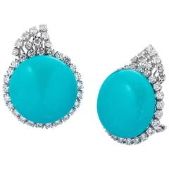 Turquoise Diamond Gold Clip-on Earrings by Ciaravolo
