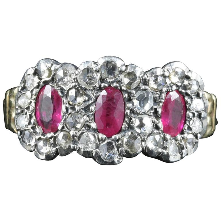 Antique Georgian Ruby Diamond Triple Cluster Ring For Sale