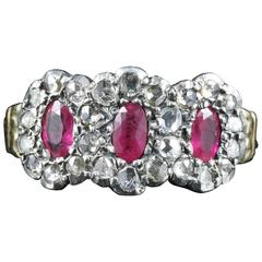 Antique Georgian Ruby Diamond Triple Cluster Ring