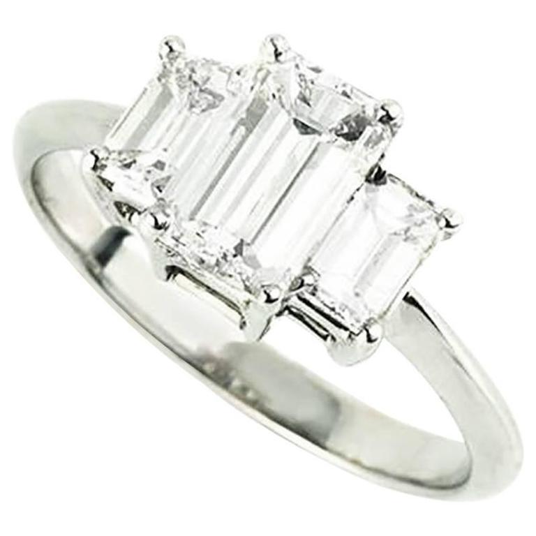 Emerald Cut Diamond Trilogy Ring 1.15 Carat