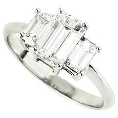 Emerald Cut Diamond Trilogy Ring 1.15 Carat