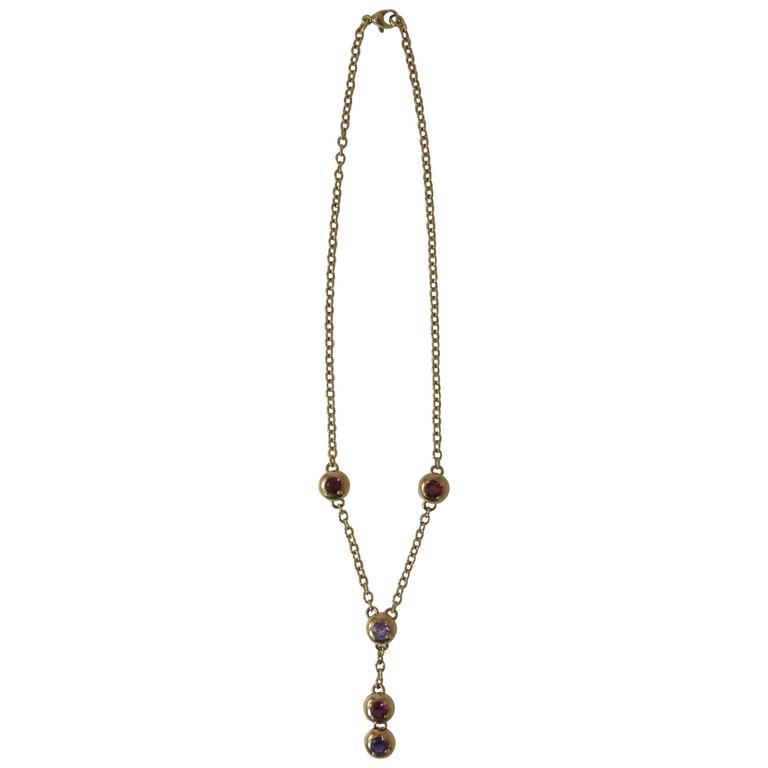 Gioielmoda Gold and Multi-Color Stone Lariet Style Reversible Necklace