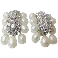 Stunning David Webb Platinum and Diamond Biwi Cultured Pearl Earrings