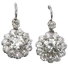 Old-Cut Diamond Yellow Gold Platinum Cluster Earrings