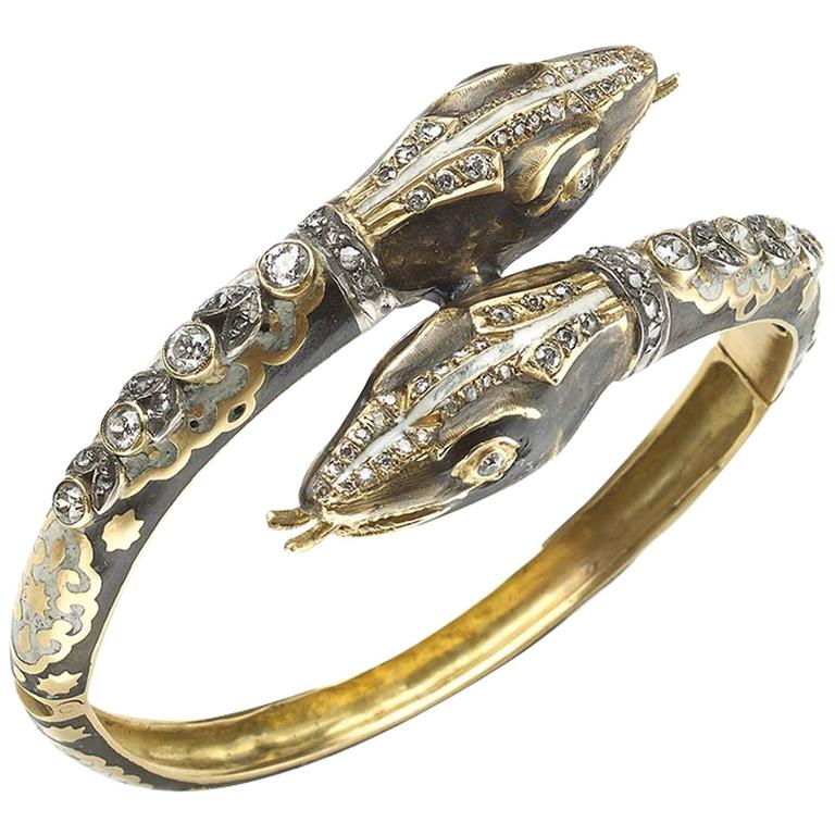 Enamel Diamond Gold Double Headed Snake Bangle Bracelet