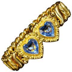 Antique Victorian Rolled Gold Heart Bracelet