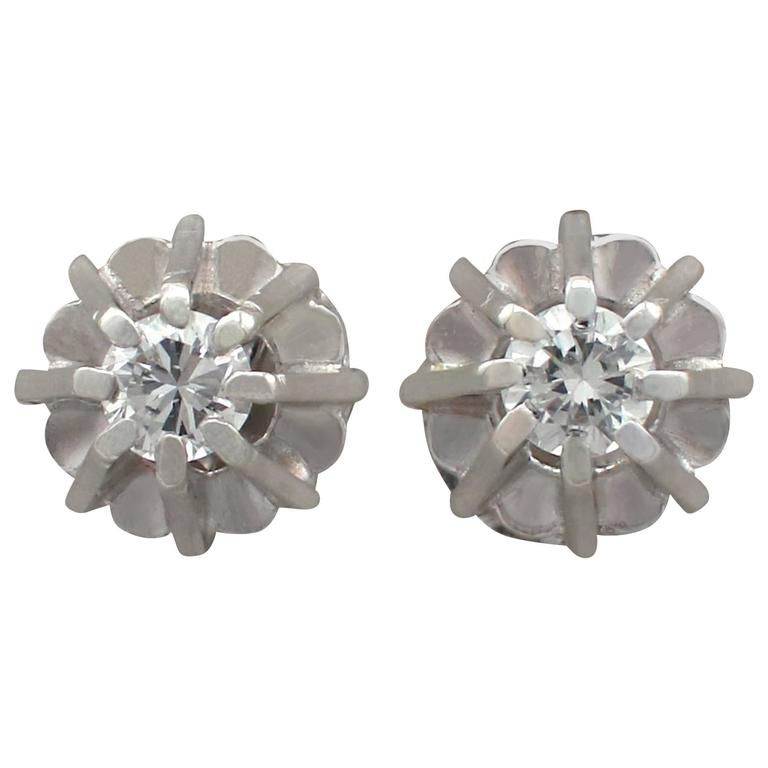 1940s Diamond White Gold Stud Earrings