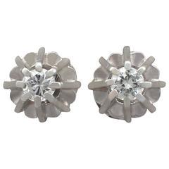 1940s Diamond White Gold Stud Earrings
