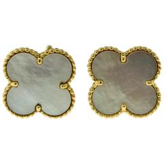 Van Cleef & Arpels Magic Alhambra Mother-of-Pearl Yellow Gold Large Earrings