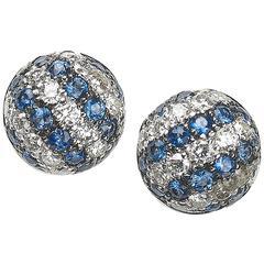 Sapphire Diamond White Gold Stripe Earrings