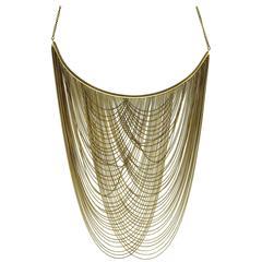 Gold Multi Strand Waterfall Choker Drape Necklace