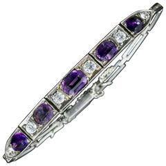 Art Deco Amethyst White Sapphire Silver Bracelet