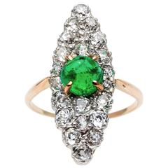Edwardian Period Emerald and Diamond Ring in Platinum, Yellow Gold