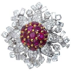 Diamond Ruby Platinum Snowflake Pin