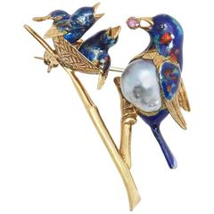 Cartier Enamel Pearl Gold Bird Pin