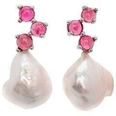 Beige white grey Baroque Pearl Cabochon Pink colour 18 yellow Gold drop Earrings