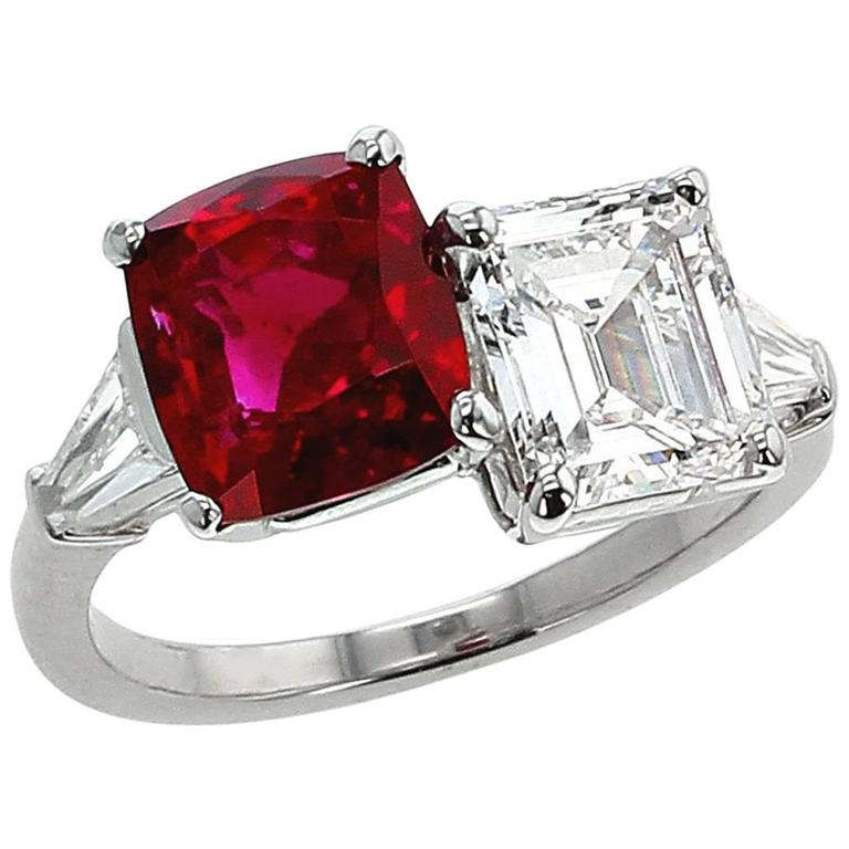 Natural Pigeon's Blood Burma Ruby and Diamond Ring