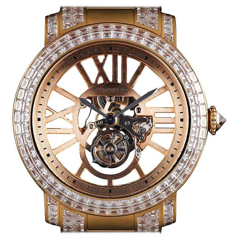 Cartier Rose Gold Unique Diamond Set Tourbillon Skeleton Wristwatch For Sale
