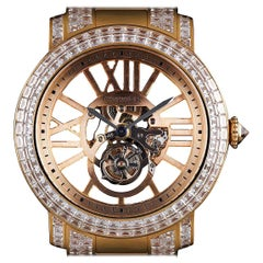 Cartier Rose Gold Unique Diamond Set Tourbillon Skeleton Wristwatch