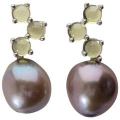 Cavallo Freshwater Baroque Pearl Cabochon Peridot Gold Earrings