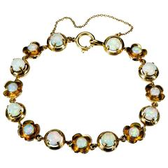 Attractive Ladies Opal Yellow Gold circa 1960 Flexible Bracelet