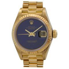 Rolex Ladies President Yellow Gold Lapis Lazuli Automatic Wristwatch circa 1985