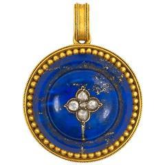 Antique Gold Lapis and Diamond Pendant Locket