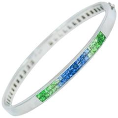 Blue and Green Sapphire White Gold Bangle Bracelet