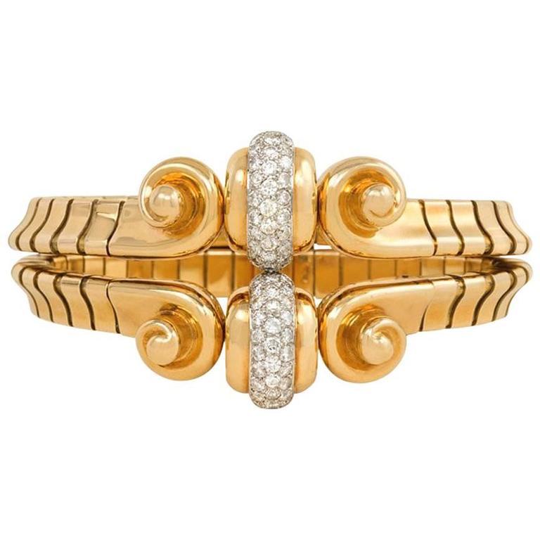 Retro Mauboussin Gold and Diamond Bracelet