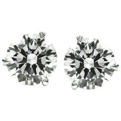 2.49 Carat Total Round Brilliant Cut Diamond Stud Earrings White Gold GIA