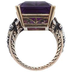 Amethyst Bishops Gold and Diamond Ring